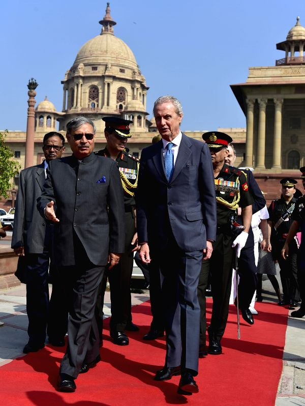Spanish Defence Minister Pedro Morenes Eulate being received by the Union Minister of State for Planning (Independent Charge) and Defence Rao Inderjit, in New Delhi on March 4, 2015. ... - Pedro Morenes Eulate and Rao Inderjit
