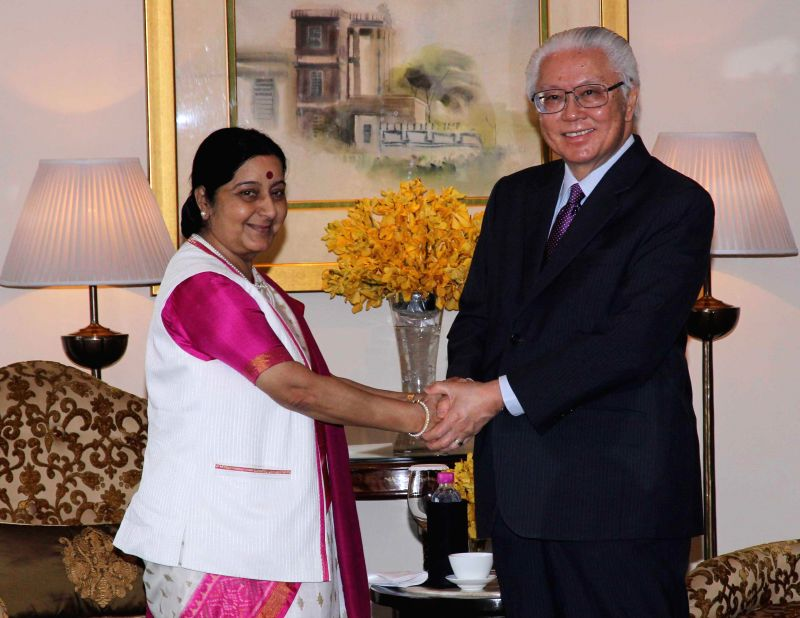 Srinagar: External Affairs Minister Sushma Swaraj during a meeting with the President of the Republic of Singapore, Dr. Tony Tan Keng Yam in New Delhi, on Feb 9, 2015.