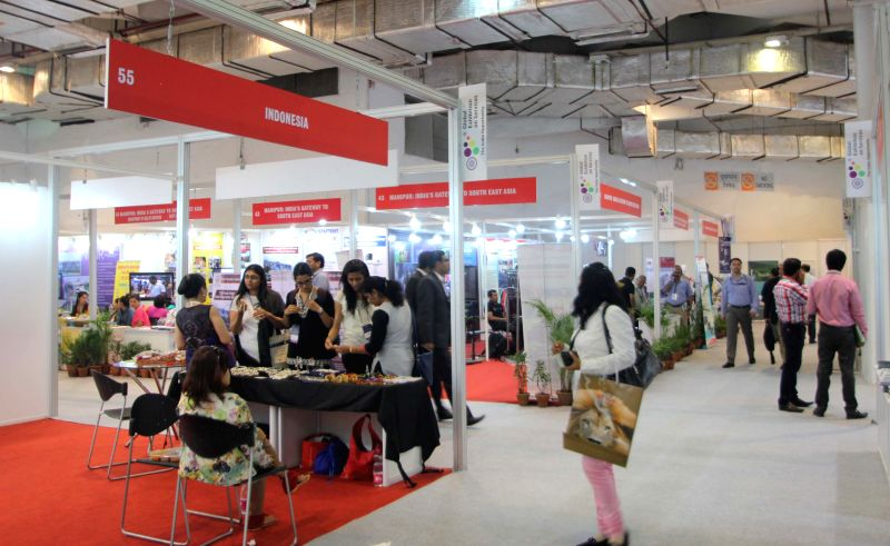 Stalls setup at the Global Exhibition on Services organised at Pragati Maidan in New Delhi, on April 24, 2015.