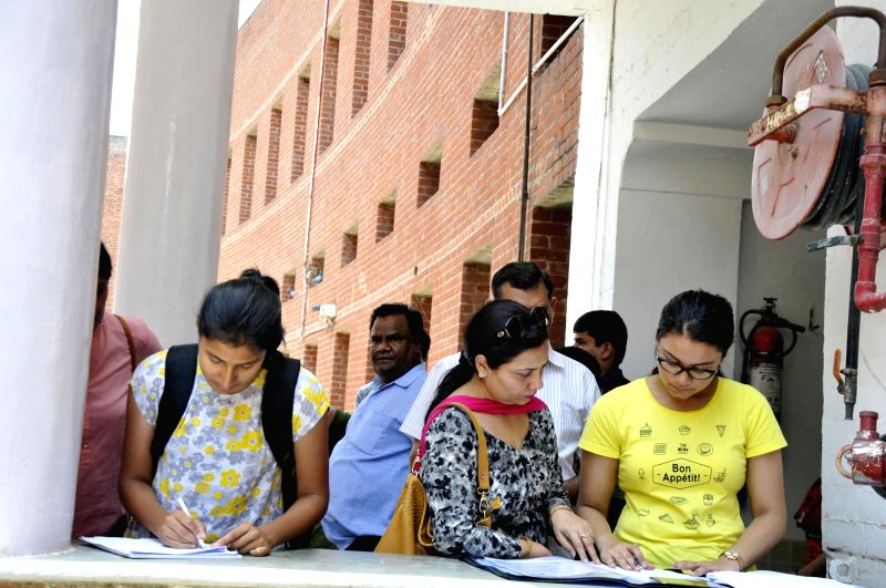 New Delhi: Students at Delhi University (DU) after first cut-off list of the University was released on June 19, 2018.