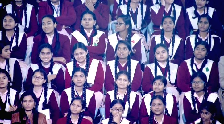 New Delhi: Students listening to Prime Minister Narendra Modi as he interacts with them during the 'Pariksha Pe Charcha' Townhall in New Delhi on Jan 20, 2020. (Photo: IANS)