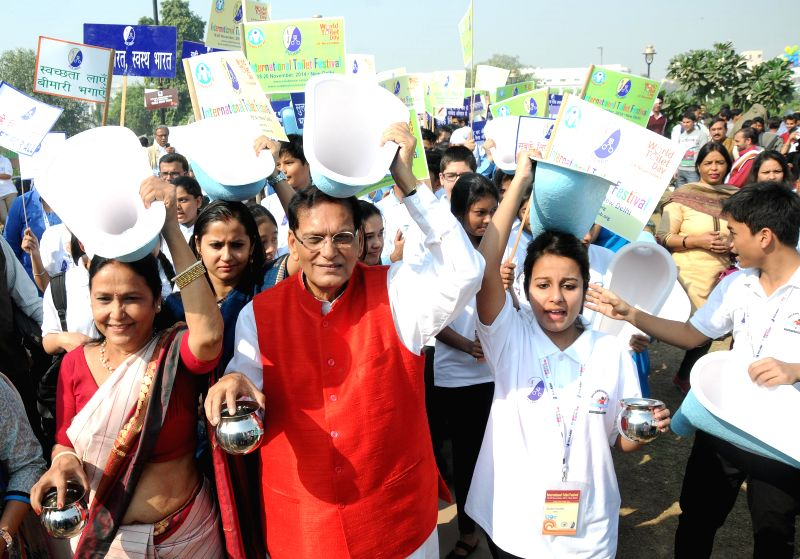 Sulabh International Founder Bindeshwar Pathak during a programme organised by Sulabh International on the eve of World Toilet Day in New Delhi, on Nov 18, 2014.