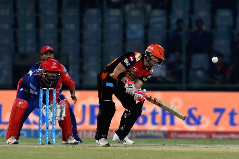 New Delhi: Sunrisers Hyderabad captain David Warner in action during an IPL 2017 match between Sunrisers Hyderabad and Delhi Daredevils at Feroz Shah Kotla in New Delhi on May 2, 2017. - David Warner and Feroz Shah Kotla