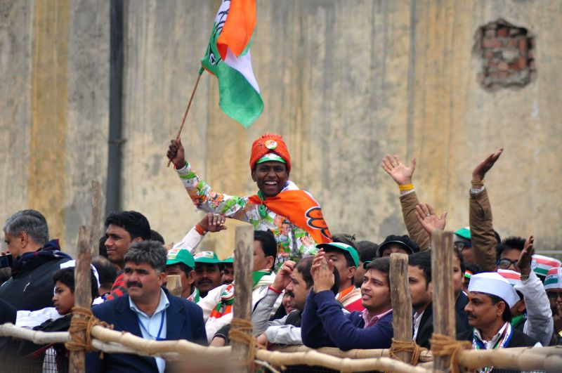 Supporters of Congress during a rally for the upcoming Delhi Assembly Election at Jahangir Puri in New Delhi on Feb. 4, 2015.