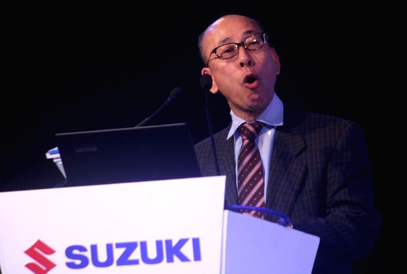 New Delhi: Suzuki Motorcycle India Private Limited (SMIPL) Managing Director Satoshi Uchida addresses at the launch of Suzuki Intruder in New Delhi, on Nov 7, 2017. (Photo: IANS)
