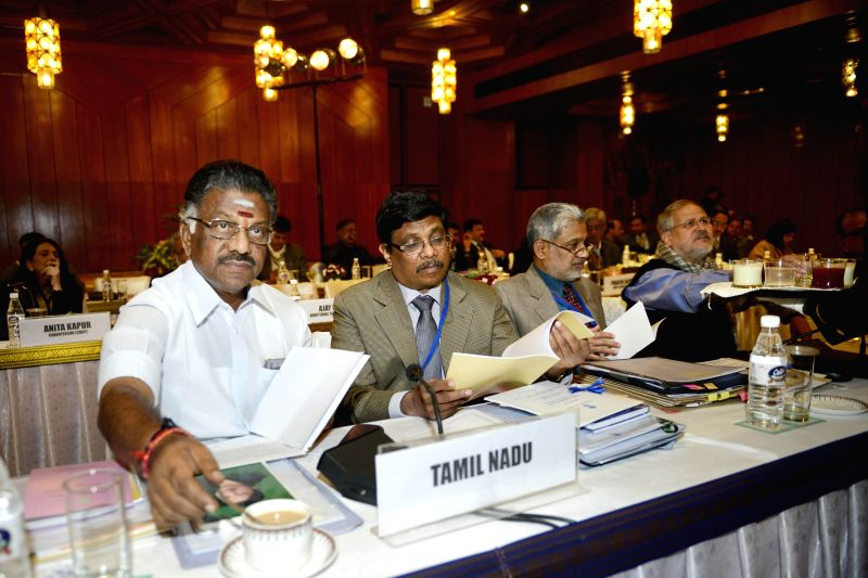 Tamil Nadu Chief Minister O. Panneerselvam, Delhi Lt Governor Najeeb Jung and others during  a pre-budget meeting with Union Finance Minister  in New Delhi, on Dec 26, 2014. - O. Panneerselvam
