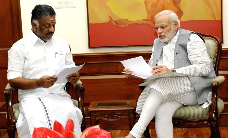 Tamil Nadu Chief Minister  O. Panneerselvam calls on Prime Minister Narendra Modi, in New Delhi on April 25, 2015. - Narendra Modi