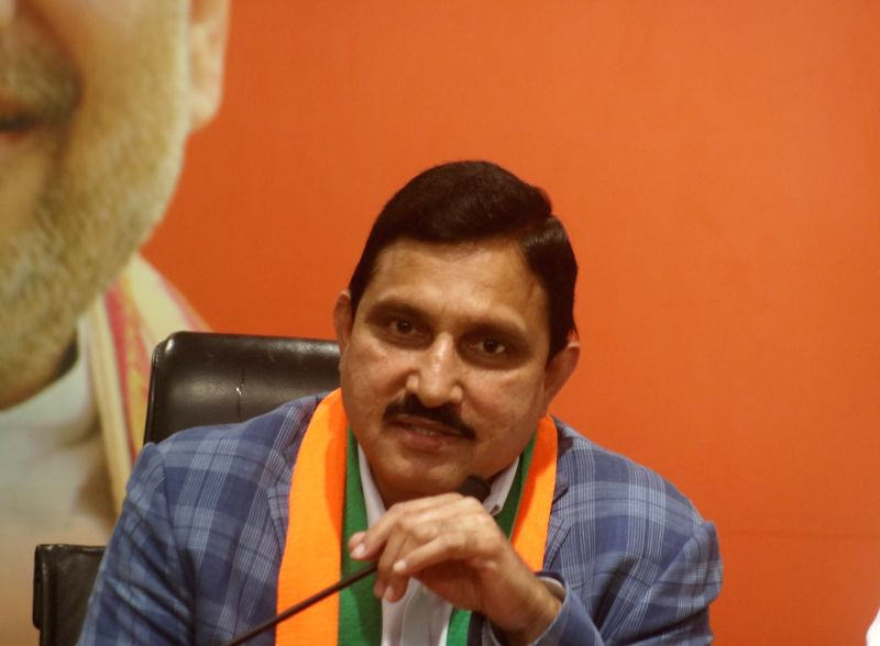New Delhi: TDP MP Y. S. Chowdary addresses after joining the BJP at the party's headquarters in New Delhi on June 20, 2019. (Photo: IANS)