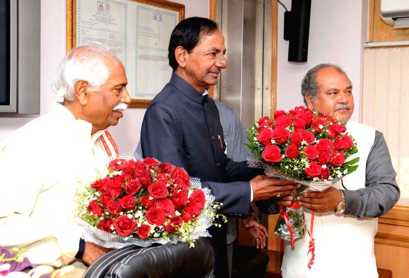 Telangana Chief Minister K. Chandrashekar Rao calls on the Union Minister for Mines and Steel Narendra Singh Tomar and the Union Minister of State for Labour and Employment (Independent ... - K. Chandrashekar Rao