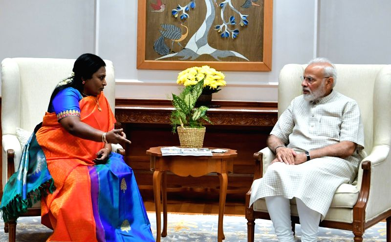 New Delhi: Telangana Governor Dr. Tamilisai Soundararajan calls on Prime Minister Narendra Modi in New Delhi on Oct 15, 2019. (Photo: IANS/PIB)