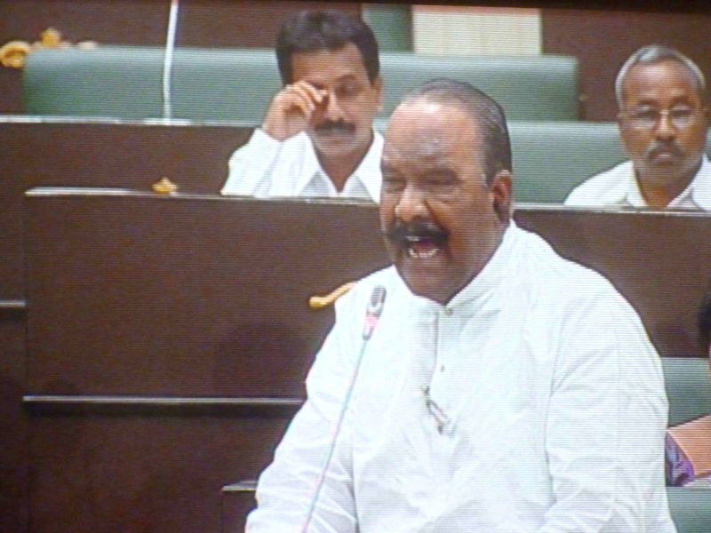 Telangana Home Minister N. Narasimha Reddy addresses in the state assembly on on March 24, 2015. - N. Narasimha Reddy