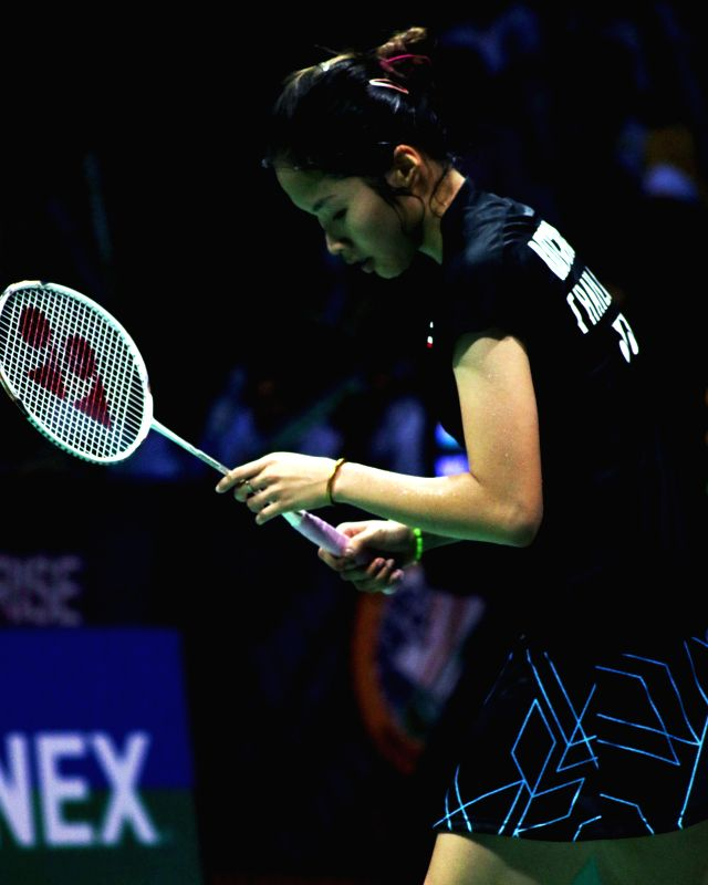 Thai badminton player Ratchanok Intanon during Indian Open Badminton Championship in New Delhi on March 28, 2015. Saina Nehwal won. Score: 21-15, 21-11.