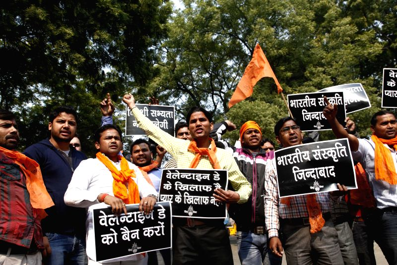 The activists of Hindu Sena stage a demonstration against Valantine's Day celebrations in New Delhi, on Feb 12, 2015.
