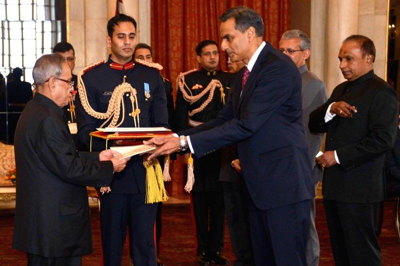 The Ambassador-designate of United States of America Richard Rahul Verma presents his credential to President Pranab Mukherjee, at Rashtrapati Bhavan, in New Delhi on Jan 16, 2015. - Richard Rahul Verma and Pranab Mukherjee