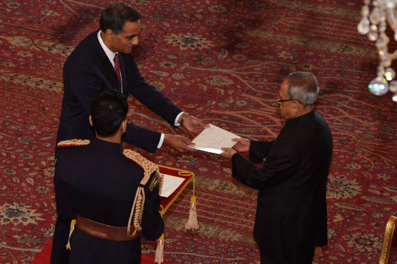 The Ambassador-designate of United States of America Richard Rahul Verma presents his credential to President Pranab Mukherjee, at Rashtrapati Bhavan, in New Delhi on Jan 16, 2015. - Richard Rahul Verma and Pranab Mukherjee