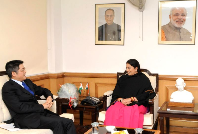 The Ambassador Extraordinary and Plenipotentiary of the People's Republic of China, Le Yucheng calls on the Union Minister for Human Resource Development, Smriti Irani, in New Delhi on Jan