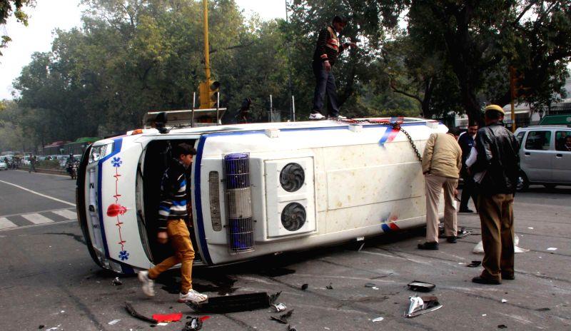 The ambulance that collided with a car on Feroz Shah Kotla road in New Delhi, on Jan 12, 2015. - Feroz Shah Kotla