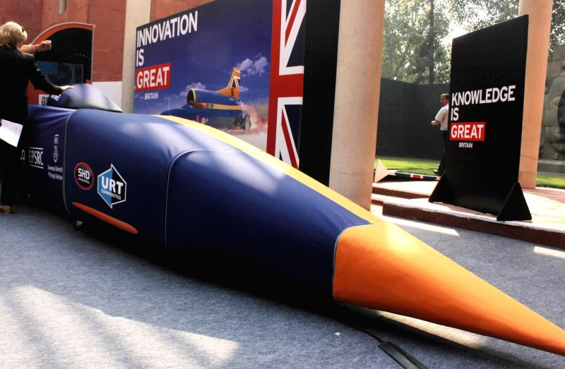 The BLOODHOUND SSC (Supersonic car) that was unveiled at the launch of `BLOODHOUND Car Show`- showcasing UK's engineering and innovation expertise, at the British Council in New Delhi, on .
