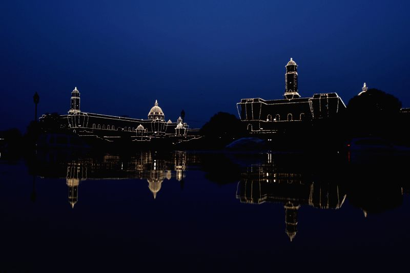 The centre of power South and North Block illuminated during the Full-Dress rehearsal of Beating the Retreat ceremony at Raisina Hill in New Delhi on Jan. 27, 2014.