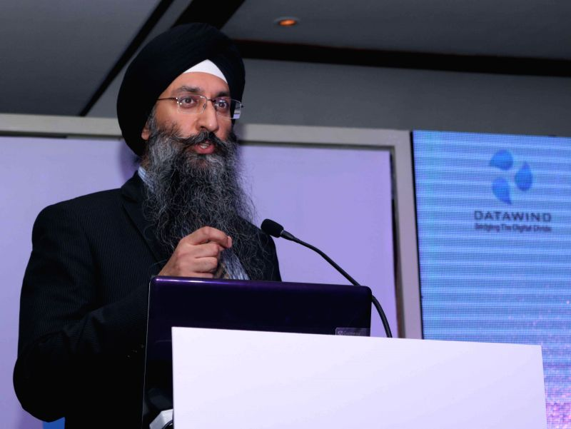 The CEO of Datawind Suneet Singh Tuli addresses at the launch of a product in New Delhi, on March 17, 2015.