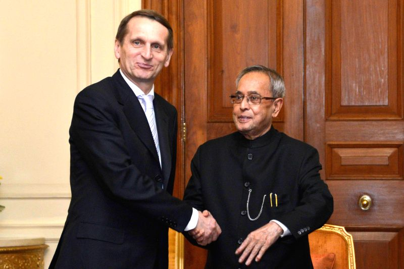The Chairman of State Duma, Federal Assembly of Russian Federation, Sergey Naryshkin calls on President Pranab Mukherjee at Rashtrapati Bhavan in New Delhi on Feb 26, 2015. - Pranab Mukherjee