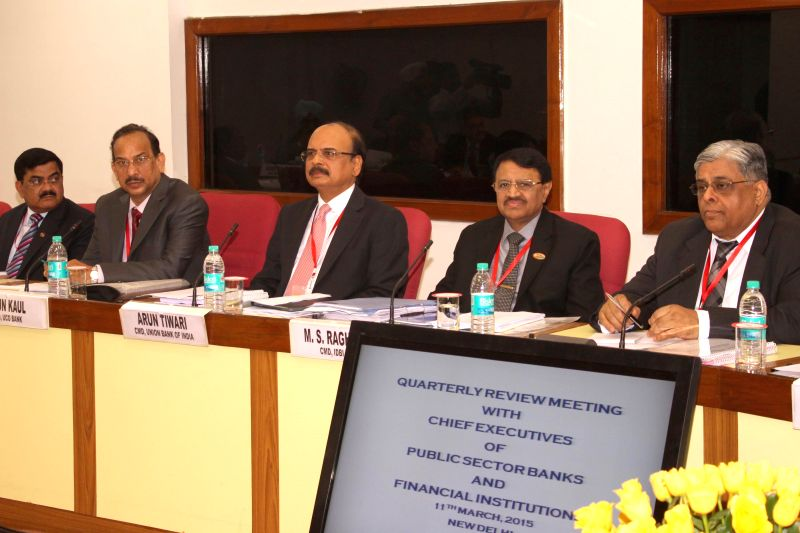 The Chief Executive Officers (CEOs) of Public Sector Banks and Financial Institutions during a Quarterly Performance Review Meeting in New Delhi on March 11, 2015.