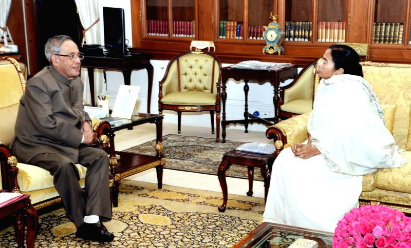 The Chief Minister of West Bengal, Mamata Banerjee calls on President Pranab Mukherjee, at Rashtrapati Bhavan, in New Delhi on Nov 18, 2014. - Pranab Mukherjee