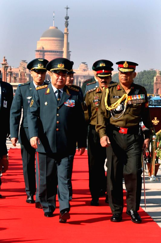 The chief of Kazakhstan Armed Forces Zhasuzakov Saken Adilkhanovich during a ceremonial reception at South Block in New Delhi, on Dec 8, 2014.