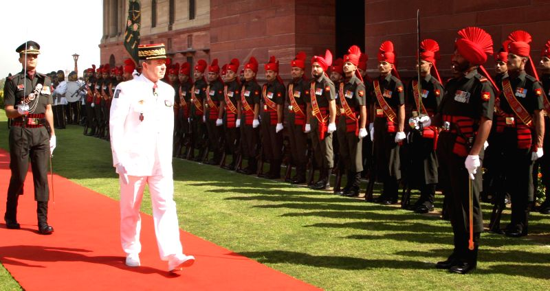 The Chief of Staff, French Army, General Jean-Pierre Bosser inspects the Guard of Honour in New Delhi on March 9, 2015.
