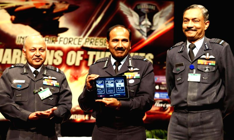 The Chief of the Air Staff, Air Chief Marshal Arup Raha launch the phase II of the 3D Air Combat Mobile Game `Guardians of the Skies`, on Dec 11, 2014. The Air Officer-in-Charge Personnel .