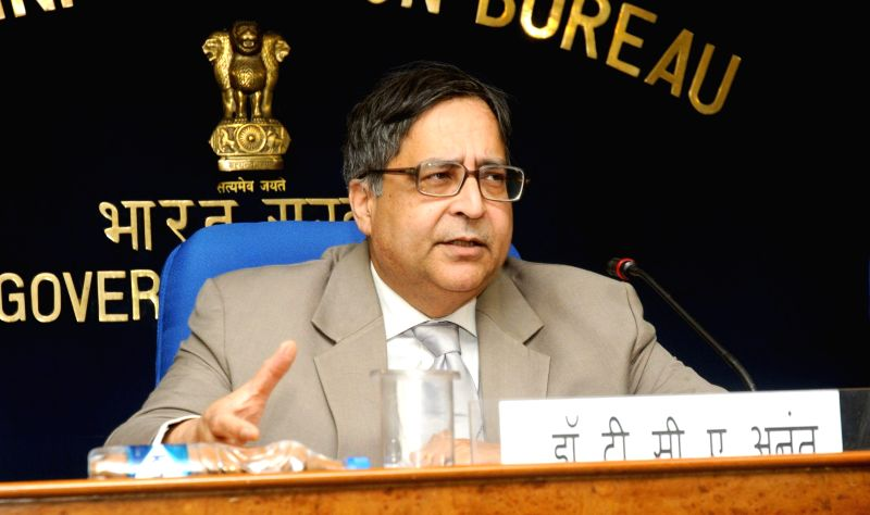 The Chief Statistician of India and Secretary Ministry of Statistics and Programme Implementation, Prof. T.C.A. Anant briefs press before the release of the CPI, in New Delhi on Feb 12, ...