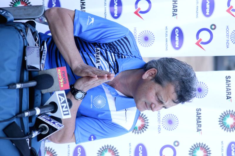 The coach of India hockey team (men) Paul Van Ass addresses a press conference at Major Dhyan Chand National Stadium in New Delhi on March 18, 2015.