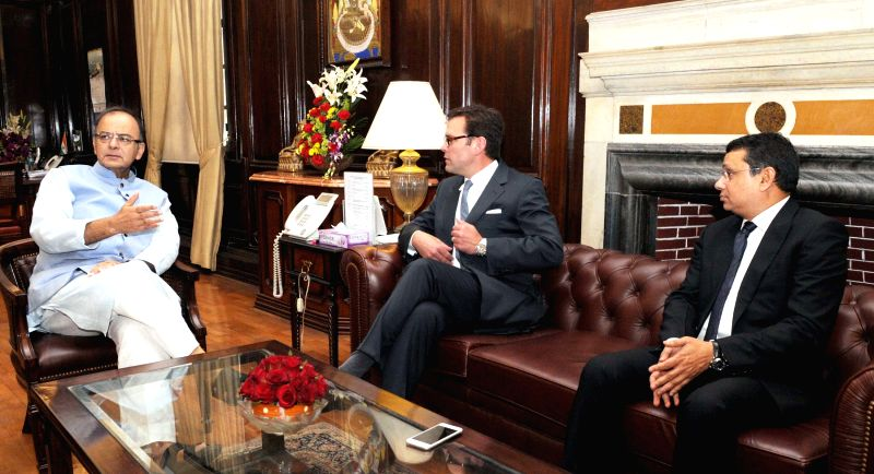 The COO of 21st Century Fox James Murdoch calls on Union Minister for Finance, Corporate Affairs, and Information and Broadcasting Arun Jaitley in New Delhi, on March 26, 2015.