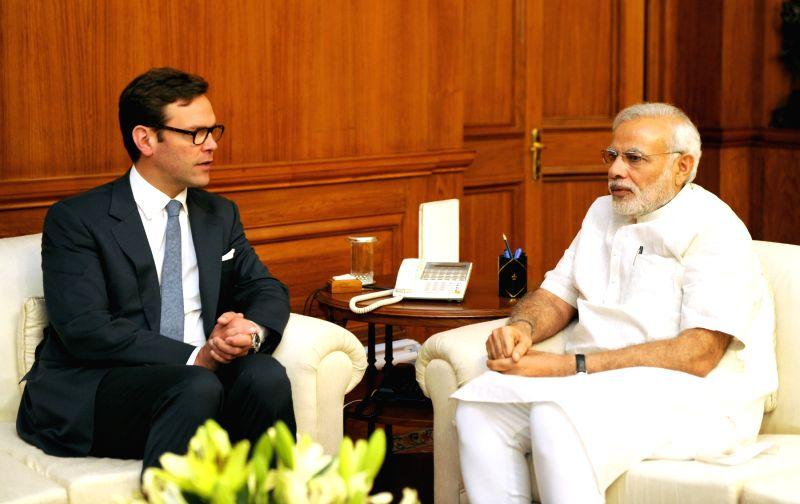 The COO of 21st Century Fox James Murdoch calls on Prime Minister Narendra Modi in New Delhi, on March 26, 2015. - Narendra Modi