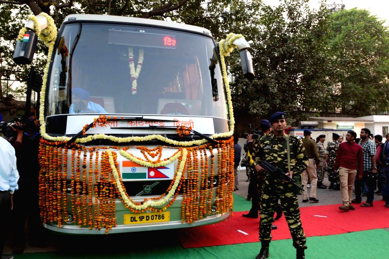 The Delhi-Kathmandu bus that was launched in New Delhi on Nov 25, 2014.