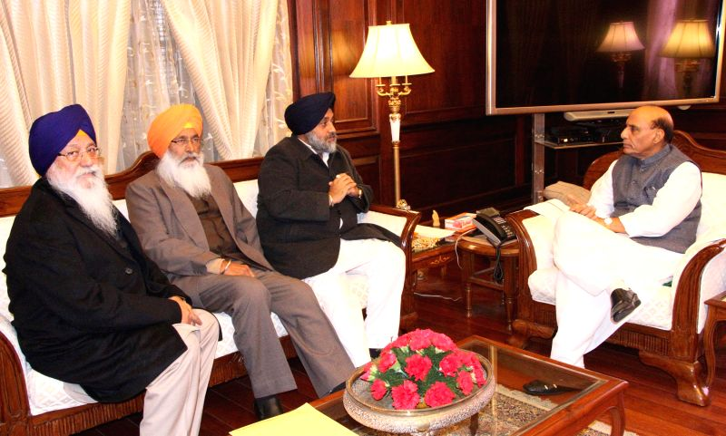 The Deputy Chief Minister of Punjab, Sukhbir Singh Badal calls on the Union Home Minister, Rajnath Singh in New Delhi on Jan 8, 2015. Also seen MP Sukhdev Singh Dhindsa and SGPC chief ... - Sukhdev Singh Dhindsa