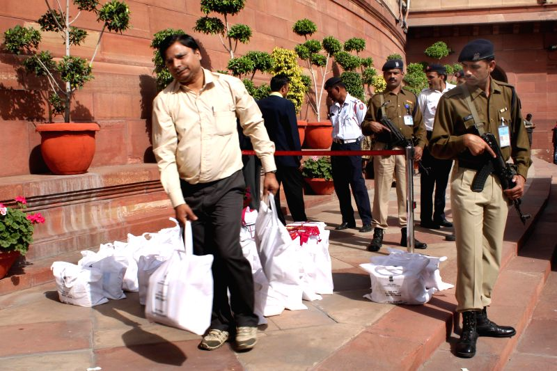 The documents pertaining to the Railway Budget 2015-16 at Parliament House on Feb. 26,  2015.