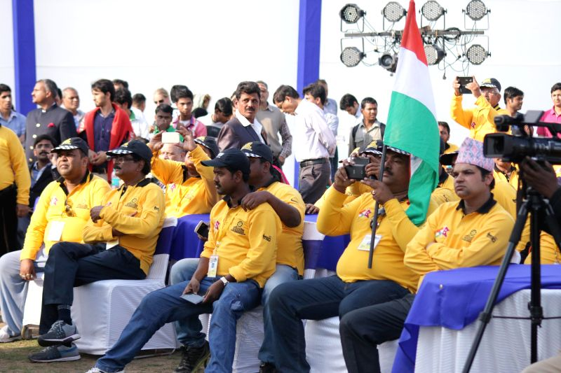 The drivers who participated in the Indo-Nepal car rally during a programme organised on the culmination of the rally in New Delhi, on March 8, 2015.