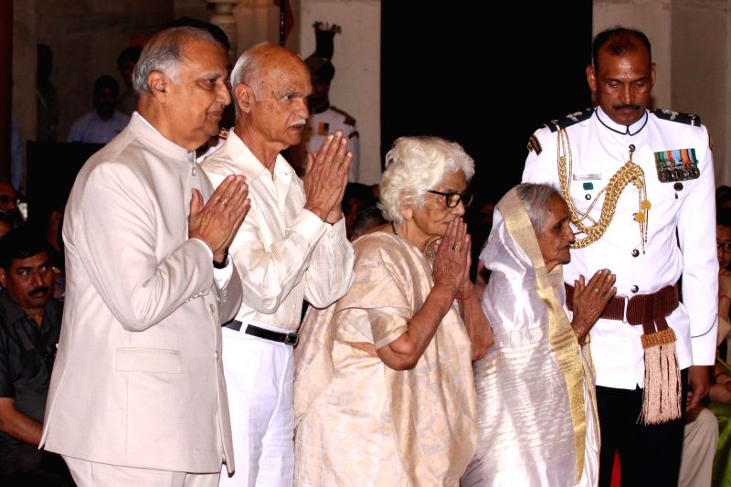 The family members of freedom fighter Madan Mohan Malviya during a Civil Investiture Ceremony where Malviya was presented  Bharat Ratna Award (Posthumous) by President Pranab Mukherjee in ... - Pranab Mukherjee