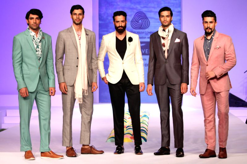 The fashion show by designers Timothy Everest, Rajesh Pratap Singh and Suket Dhir at  Australian High Commission  in New Delhi on April 13,2015.