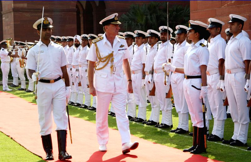 The First Sea Lord and CNS, Royal Navy, Admiral Sir George Zambellas inspects the Guard of Honour, in New Delhi on March 16, 2015.