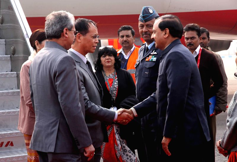 The First Vice President of Myanmar Sai Mauk Kham being welcomed on his arrival in New Delhi on Jan 20, 2015.
