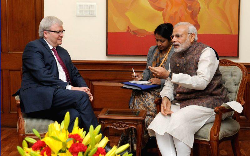 The former Prime Minister of Australia, Kevin Rudd calls on Prime Minister Narendra Modi, in New Delhi on March 5, 2015. - Narendra Modi