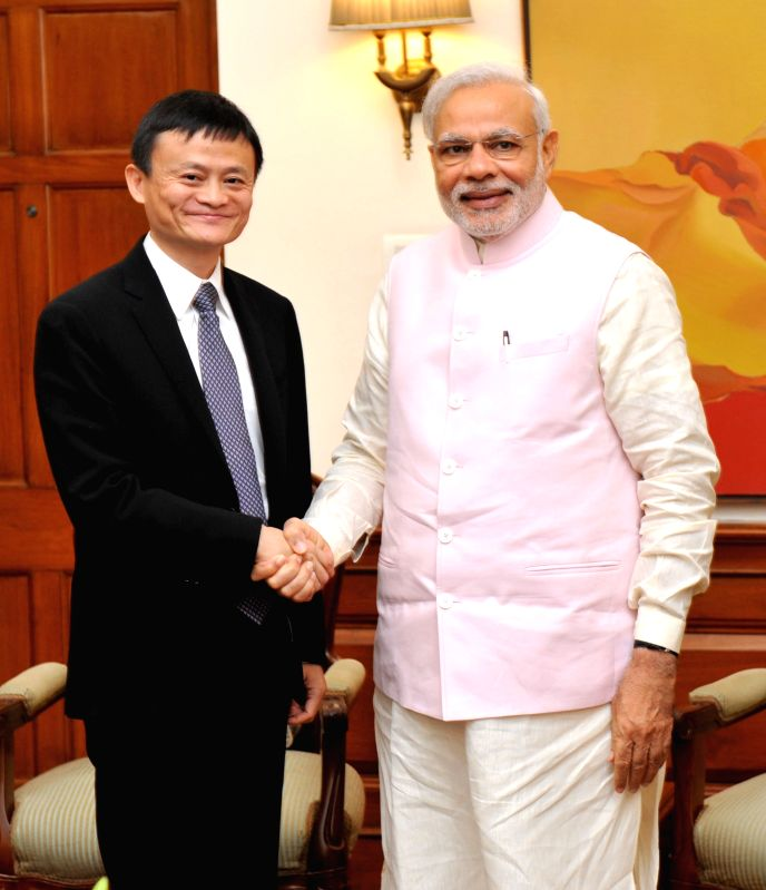The Founder and Executive Chairman, Alibaba group, Jack Ma calls on Prime Minister Narendra Modi, in New Delhi on March 30, 2015. - Narendra Modi