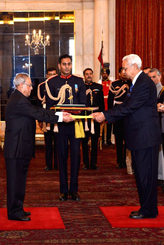 The High Commissioner-Designate of Bangladesh Syed Muazzem Ali presents his credentials to President Pranab Mukherjee, at Rashtrapati Bhavan, in New Delhi on Dec 9, 2014. - Pranab Mukherjee