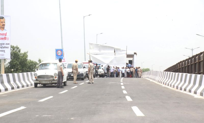 New Delhi: The inauguration of the newly constructed Rao Tula Ram (RTR) Flyover underway at Outer Ring Road near Munirka in New Delhi, on July 16, 2019. (Photo: IANS)