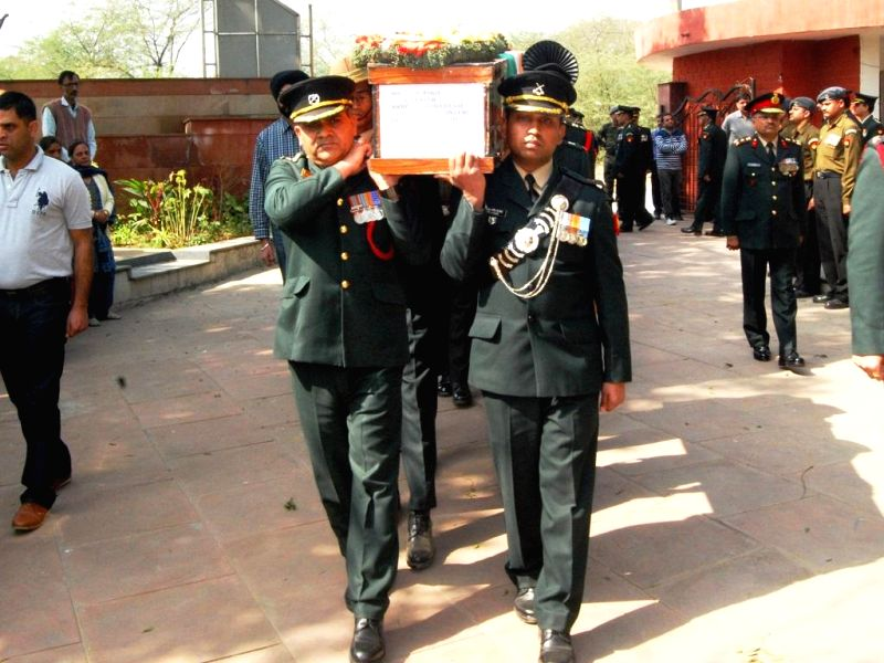 The last rites of Lt. Col Rajesh Gulati, who was killed in an Advanced Light Helicopter (ALH) Dhruv crash that took place in a forest in Bandipore district of Jammu and Kashmir Wednesday ..