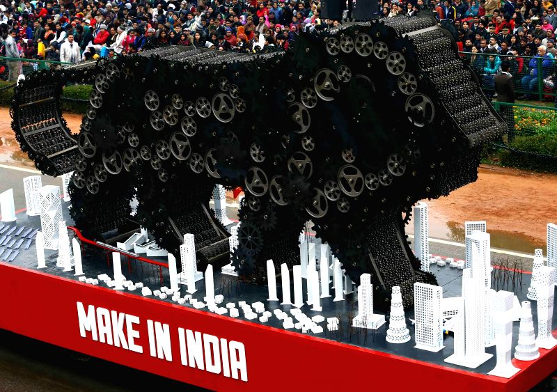 The `Make in India` tableau during Republic Day celebrations at Rajpath in New Delhi, on Jan 26, 2015.