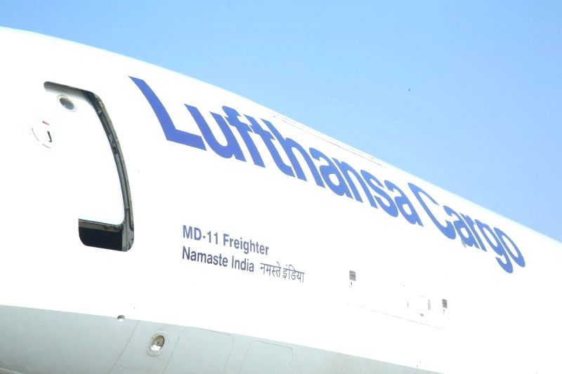 The MD-11 freighter aircraft of Lufthansa Cargo which was named as  `Namaste India` by Union Civil Aviation Minister Ashok Gajapathi Raju at the Indira Gandhi International (IGI) Airport ... - Ashok Gajapathi Raju and Indira Gandhi International
