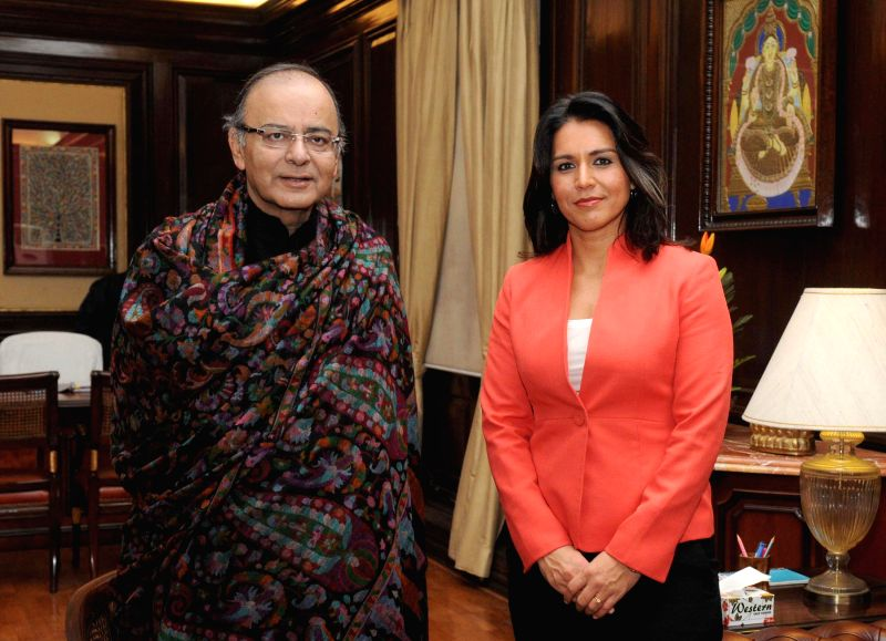 The Member of United States Congress (House of Representatives) Tulsi Gabbard calls on Union Minister for Finance, Corporate Affairs and Information and Broadcasting Arun Jaitley, in New ..